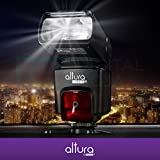 Altura Photo E-TTL Auto-Focus Dedicated Flash (AP-C1001) for Canon DSLR Cameras including Rebel EOS T3i T4i T5i T2i T1i SL1 20D 30D 40D 50D 60D 70D 5D 6D 7D, EOS 700D 650D 600D 550D 500D 100D + Flash Stand + Protective Pouch + Hard Diffuser + MagicFiber Microfiber Lens Cleaning Cloth