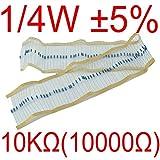 【UMKTOKYO】カーボン抵抗1/4W 10kΩ誤差±5% 炭素皮膜抵抗 0.25W  10000Ω(100本入)