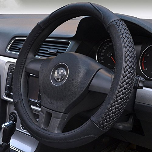 Moyishi Top Leather Steering Wheel Cover Universal Fit Soft Breathable Steering Wheel Wrap (Black) (Steering Wheel Cover For Boys compare prices)