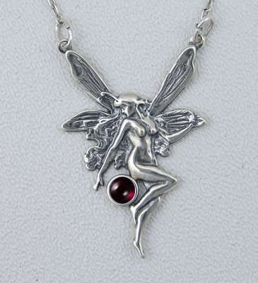 A Beautifully Detailed Sterling Silver Victorian Fairy Accented with Garnet Moonstone Made in America