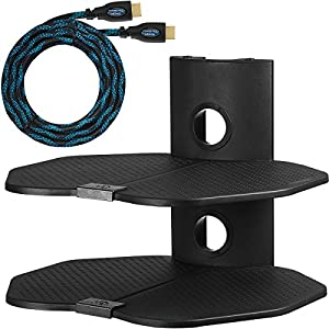 """Cheetah Mounts AS2B 2 Shelf TV Component Wall Mount Shelving Bracket with 18x16"""" Shelf, 15' Twisted Veins HDMI Cable and Cable Management for Cable or Satellite Box, DVD Player, Game Station, Receiver, etc., and Compatible with All LCD LED Plasma Flat Screen TVs and Displays"""