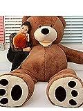 LOVESOUNDぬいぐるみ 特大 くま/テディベア 可愛い熊 動物 大きい くまぬいぐるみ/熊縫い包み/クマ抱き枕/お祝い/ふわふわぬいぐるみ (160㎝, ダークブラウン)