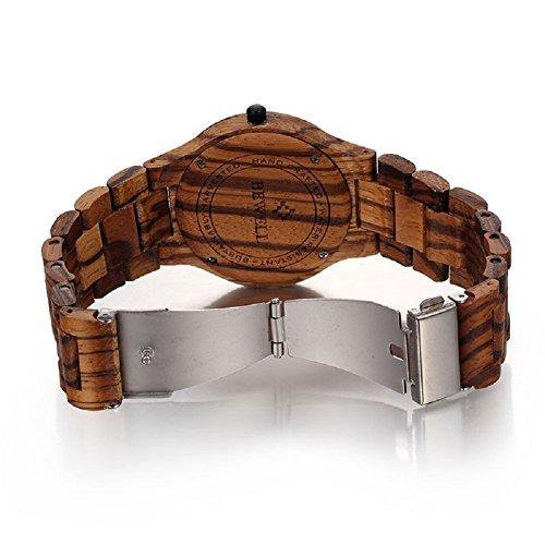 Bewell orologio da uomo analogico in legno zebrano al for Orologio legno amazon