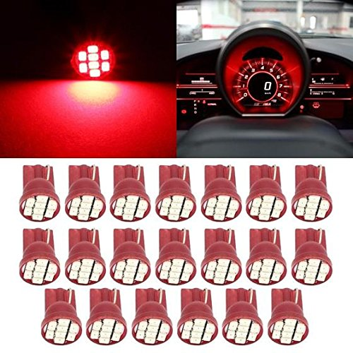 Partsam 20PCS T10 PC194 168 8-SMD Instrument Panel LED Lights Guage Cluster Lamp Bulbs Speedometer Odometer Dash Indicator, Red (Toyota Odometer compare prices)