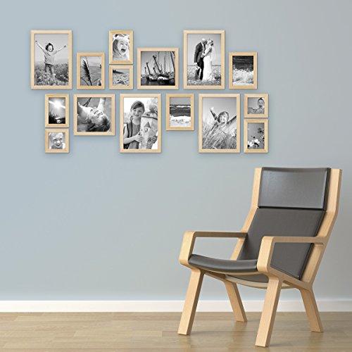 Bilderrahmen Collage Holz Natur ~ 15er Set Bilderrahmen Modern Kiefer Natur Massivholz 10×15 bis 20×30