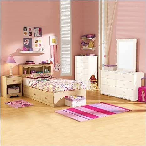 South Shore Lily Rose Kids Twin Wood Captain's Bed 3 Piece Bedroom Set in Romantic Pine