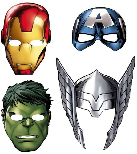 New Avengers Assemble Paper Masks Party Supplies (8 Count)