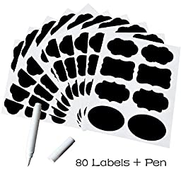 Foneso Chalkboard Labels, 80 Pieces Sticker Labels with Chalk Marker for Labeling Jars, Pantries and Other Crafts