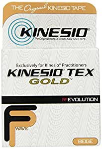 "Kinesio Tex Gold FP (FingerPrint) Tape - Beige - Single Roll - 2"" x 16.4' (5m) - The New, Advanced Formulation of Kinesio Brand Kinesiology Tape"