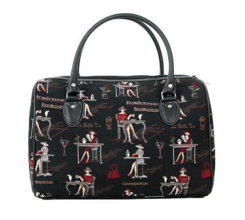 women's travel bag/canvas weekend duffle bag / Coffee, Tea or Me? Black