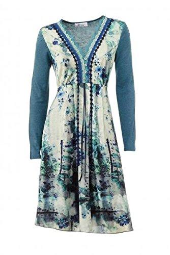 Linea Tesini Designer-Kleid, petrol-bunt Kleider Größe 36