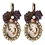 JewelryWe Marilyn Monroe Collectible Jewelry Vintage Style Hook Dangle Clip on Earrings for Women Thanksgiving Day Gift (One Pair)