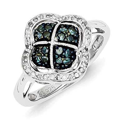 Sterling Silver Blue Rough Diamond Clover Ring - Ring Size Options Range: L to P