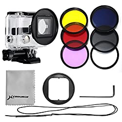 XCSOURCE Filter Kit 6PCS Filters (UV +CPL+ND4+ Rose Color + Purple Color + Yellow Color Filter) + 52mm Filter Adapter + Rose Filter Case + Lens Cleaning Cloth For Gopro Hero 3+/Hero 3 Plus LF362
