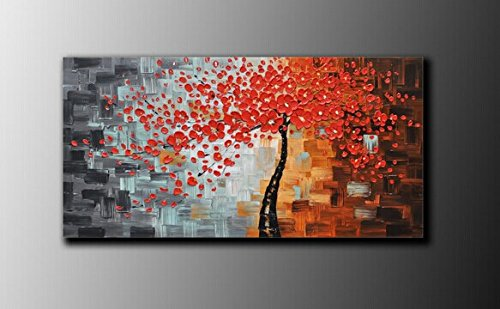 100% Hand-Painted Best-Selling Quality Goods Free Shipping Wood Framed On The Back New Knife Red Flowers High Q. Wall Decor Landscape Oil Painting On Canvas 1Pcs/Set Mixorde