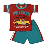 Wrecker print t-shirt with cotton pant (Red)