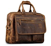 "Kattee Real Leather Durable Briefcase, 16"" Laptop Bag by Kattee"