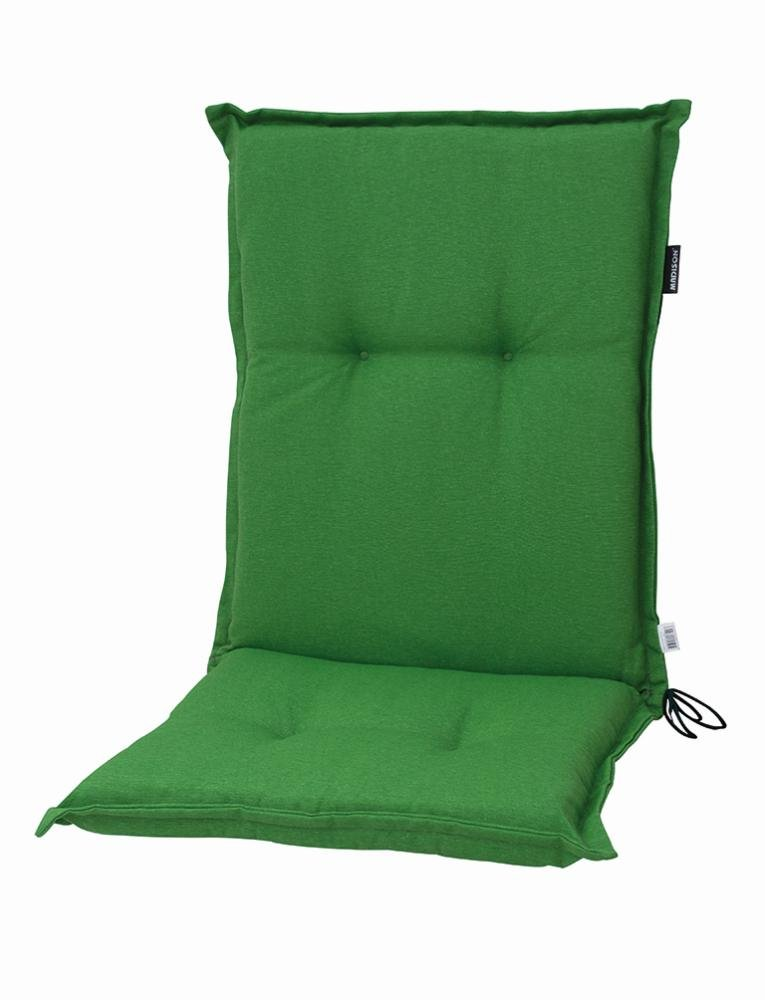 4 Stück MADISON Dessin Panama Stuhlauflage niedrig, Niedriglehner Auflage, 75% Baumwolle, 25% Polyester, 100 x 50 x 8 cm, in grün