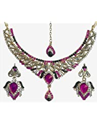 Faux Ruby, Emarald And White Zirconia Studded Kundan Necklace Set With Mang Tika - Stone And Metal - B00K4FV8RK