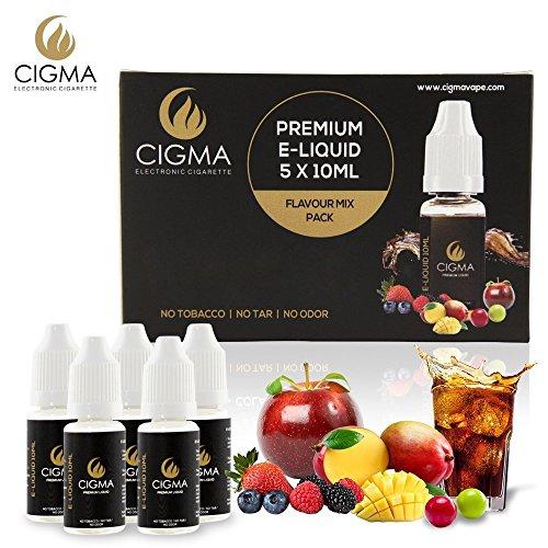 CIGMA 5 X 10ml E-Liquid Geschmack Mix Pack, 0mg (Ohne Nikotin) Kaugummi | Cola | Kaffee | Mango | Vanille | Neue Premium Formel mit hochwertigen Zutaten | VG & PG Mix | Für E-Zigaretten und E-Shisha