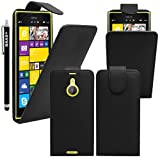 BAAS® Nokia Lumia 1520 - Black PU Leather Flip Case Pouch Cover ,2X Screen Protector Film & Stylus Pen