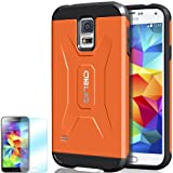 [Orange] Obliq Samsung Galaxy S5 Case Xtreme Pro w/ HD Screen Protector - Premium Slim Fit Dual Layer Hard Case - Verizon, AT&T, Sprint, T-Mobile, International, and Unlocked - Case for Apple Samsung Galaxy S5 5 2013 Model