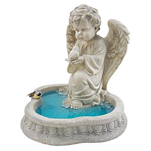 Progettare Toscano SH944265 angelo della pace con gli uccelli che riflettono la scultura piscina