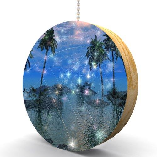 Celestial Palm Trees Hardwood Oak Fan / Light Pull front-989371