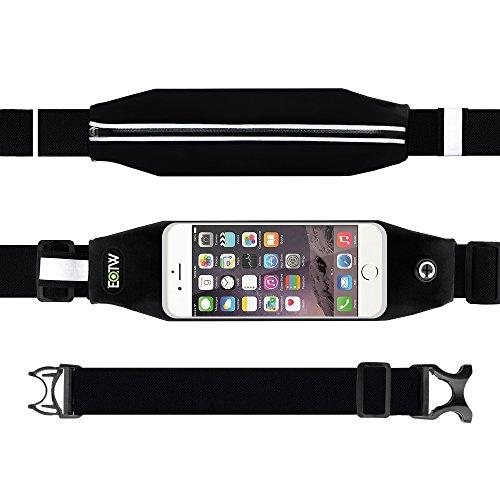EOTW® ランナーウェストポーチ ランニング ジョギング ポーチ 防水性付き スマホ ウェスト バッグ 調整可能 ベルト タッチスクリーン iPhone Galaxy Sony 大画面 スマートフォン 収納可能 ブラック (4.7インチ)
