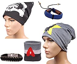 Sushito Teens Beanies Winter Cap For Men With Stylish Headwrap & Wrist Band