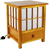 "Oriental Furniture 19"" Hokkaido Lamp with Drawer - Honey"