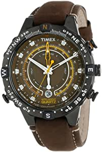 """Timex Men's T2P141DH """"Adventure Series"""" Stainless Steel Watch with Leather Band"""