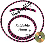 Hooping4Life Travel Black & Fluorescent Pink Foldable Weighted Dance & Exercise Hoop - 40