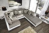 Großes Design Sofa LOFT XXL weiß grau Strukturstoff...