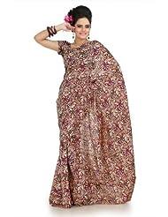 Designersareez Women Bhagalpuri Silk Printed Multicolor Saree With Unstitched Blouse(1017)