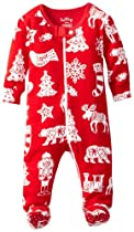 Hatley Baby Girls Newborn Footed Coverall Paper Cut Christmas, Red, 3-6 Months