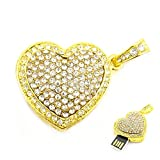 8GB Crystal Heart USB Flash Drive (Golden)