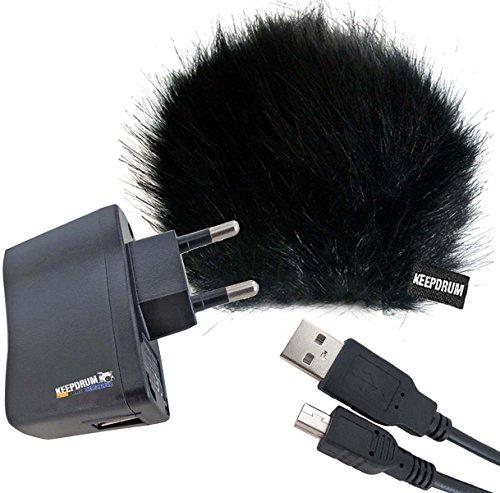 Zubehör-Set für Zoom Rekorder Windschutz WS-BK   USB Netzteil BS510  Mini-USB Kabel 1 5m