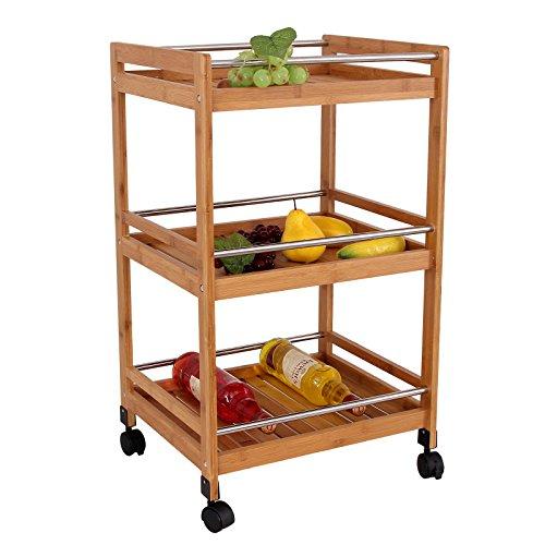 Songmics carrello da cucina legno portavivande mobiletto scaffale mensola trolley ksk22n - Mobiletto cucina amazon ...