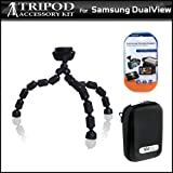 Hard Shell Carrying Case & Gripster Flexible Tripod Kit For Samsung DualView TL225 TL220 TL90 Digital Camera Includes Free Pack Of LCD Screen Protectors