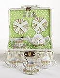 Delton Products Sprinkles Dollies Tea Set in Basket, Large