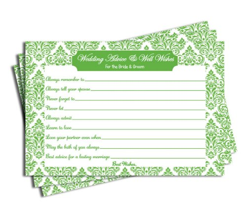 Wedding Advice and Well Wishes - Bridal Shower - Wedding - Green Damask (50-cards)