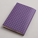 plus Orange『印傳のような紙のブックカバー』フリーサイズ 七宝「藤紫/スミ」