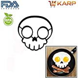 KARP™ Set Of 2 Skull Shape Silicone Fried Egg Mold Pancake Rings, Non Stick Bakeware Accessories Kitchen Tools...
