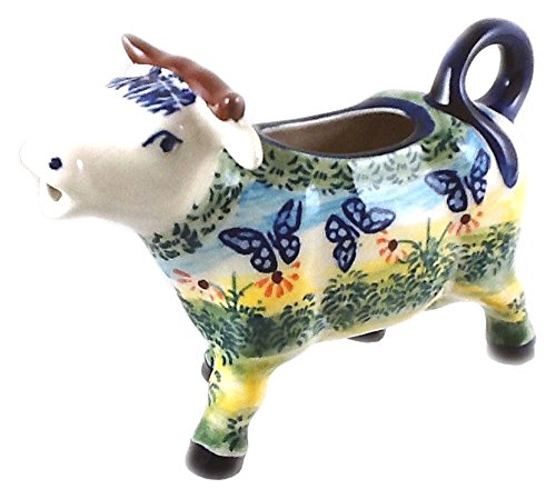 polish-pottery-cow-creamer-in-signature-pattern-wkm-or-flutterby