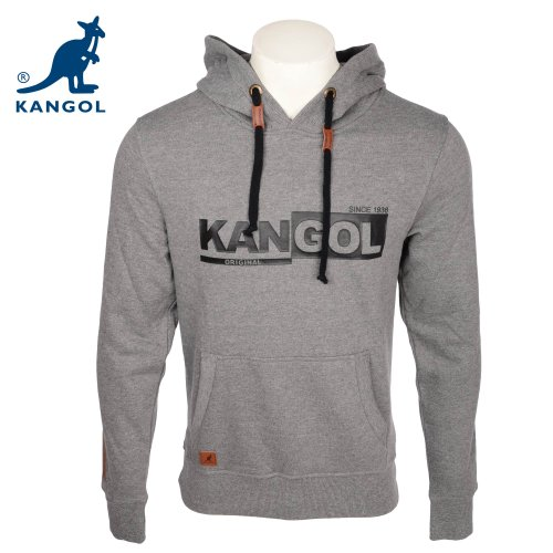 Kangol Men's Greymarl Branded Hooded Sweatshirt in Size XLarge