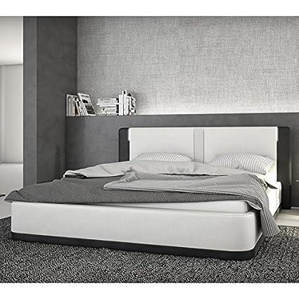 Boxspring-Bett aus Kunstleder weiß/schwarz mit LED und Lautsprecher 180x200 cm | Riffinia | Edles Designer-Bett mit Chromfußen weiss / schwarz 180 cm x 200 cm