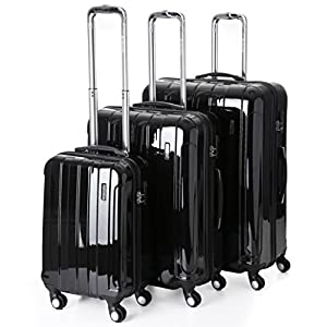 "5 Cities Lightweight Hard shell Travel Luggage Suitcase- 4 Wheel Spinner Trolley Bag 21"" Fits 55x40x20cm, 26"" 63x48x28cm, 29"" 73x56x32cm (5 Years Guarantee)"
