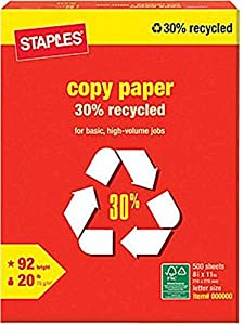 "Staples 30% Recycled Copy Fax Laser Inkjet Printer Paper, 92 Bright White, Acid Free, Ream, 8.5"" W x 11"" L, 20 lb, 500 Total Sheets"