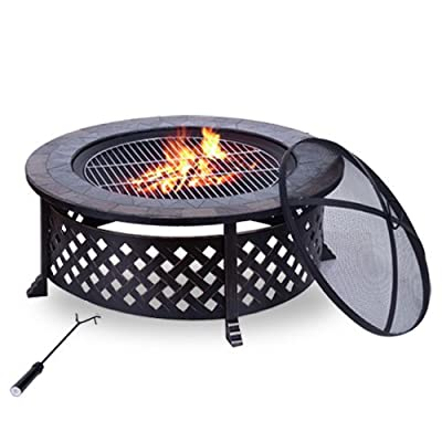 Outdoor Garden Metal Firepit Fire Pit Natural Slate Table Bbq Grid Round Brazier Patio Heater Stove from Manufactured for MHStar
